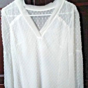 NWT Lovely Nanette Lepore Swiss Dot White Blouse